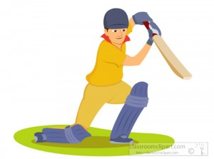 Man batting playing cricket clipart